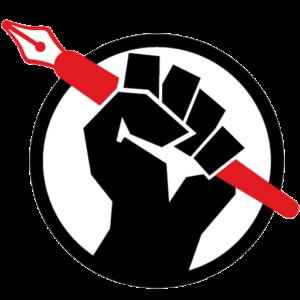 Logo med en knyttet næve, der holder en pen